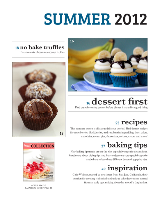 Sweet Collection Magazine Layout Design // melissahy.comFood Magazine Table Of Contents